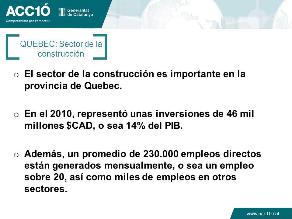 www.acc10.cat o El sector de la construcción es importante en la provincia de Quebec. o En el 2010, representó unas inversiones de 46 mil millones $CA