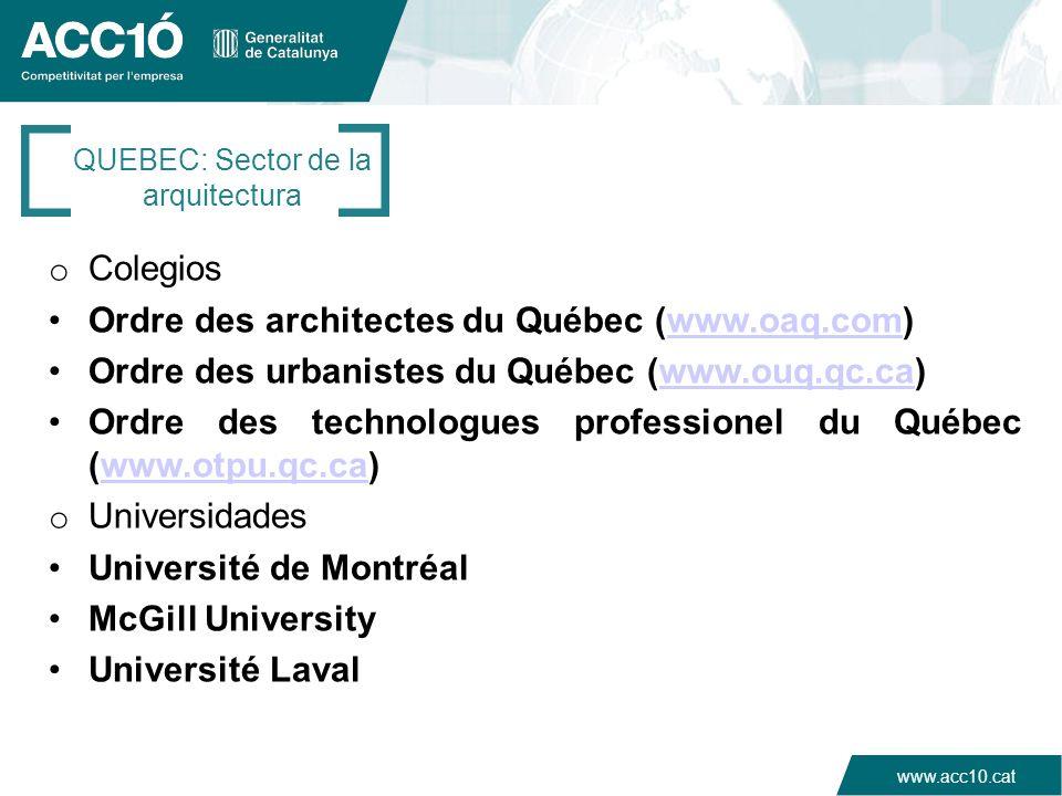 www.acc10.cat o Colegios Ordre des architectes du Québec (www.oaq.com)www.oaq.com Ordre des urbanistes du Québec (www.ouq.qc.ca)www.ouq.qc.ca Ordre de