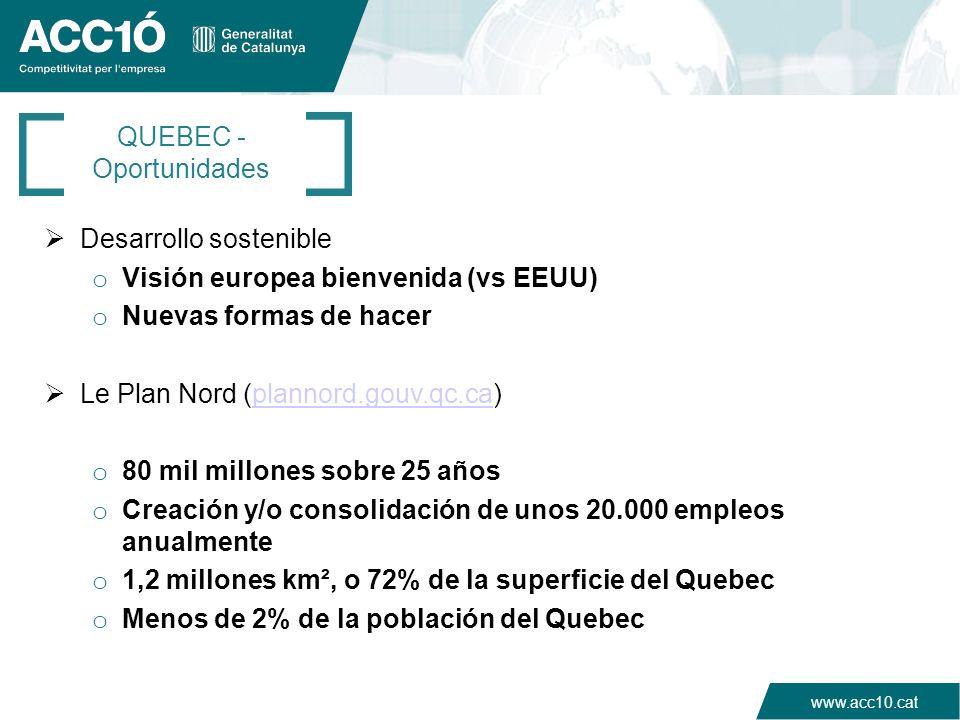 www.acc10.cat QUEBEC - Oportunidades Desarrollo sostenible o Visión europea bienvenida (vs EEUU) o Nuevas formas de hacer Le Plan Nord (plannord.gouv.