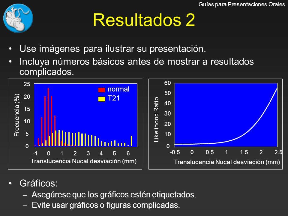 Resultados 2 Use imágenes para ilustrar su presentación. Incluya números básicos antes de mostrar a resultados complicados. Gráficos: –Asegúrese que l