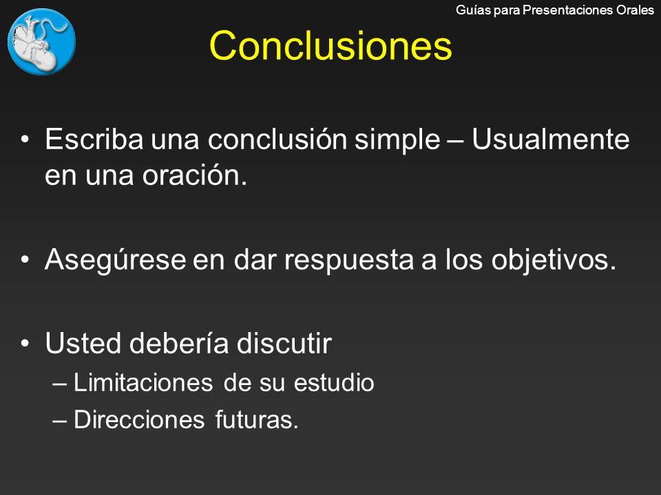 Conclusiones Escriba una conclusión simple – Usualmente en una oración. Asegúrese en dar respuesta a los objetivos. Usted debería discutir –Limitacion