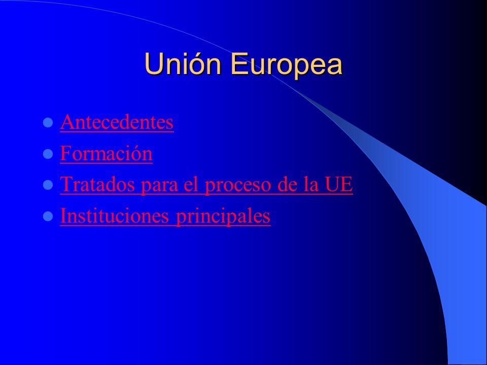 Antecedentes Los antecedentes más lejanos de la UE fue la creación de la Comunidad Económica del Carbón y del Acero (CECA) esto lo crearon 6 países: Francia, R.F.