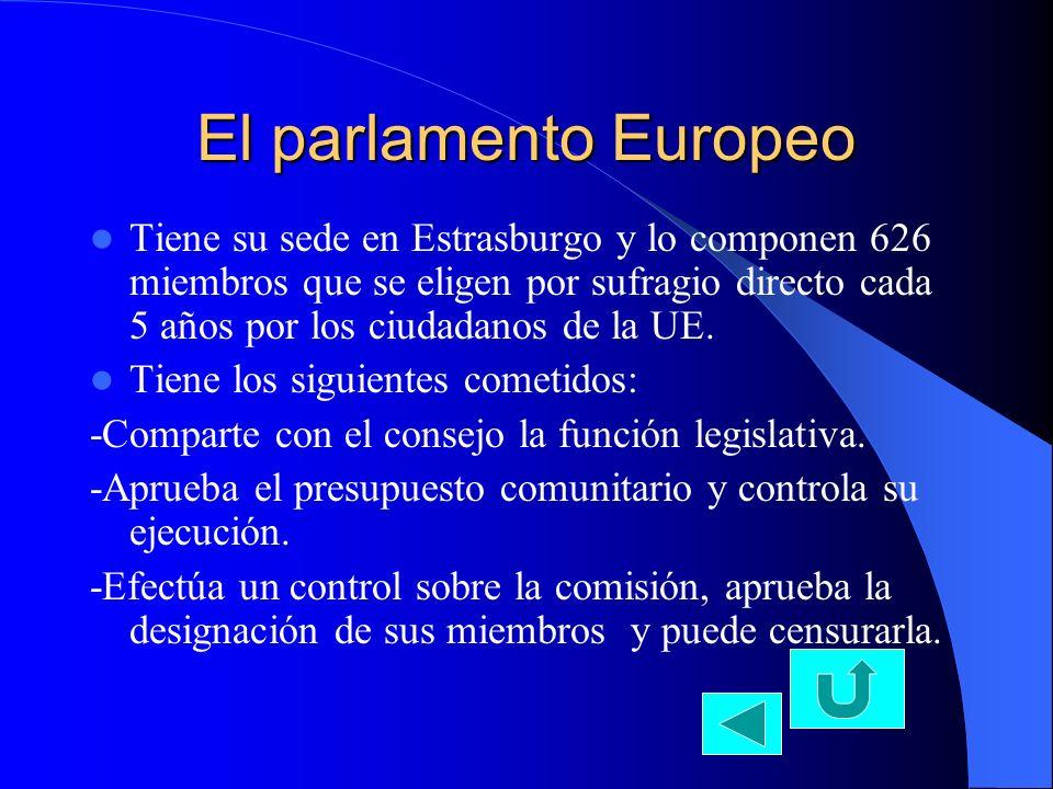 El Tribunal de justicia Tiene su sede en Luxemburgo, lo integran 15 jueces que designan los estados miembros.