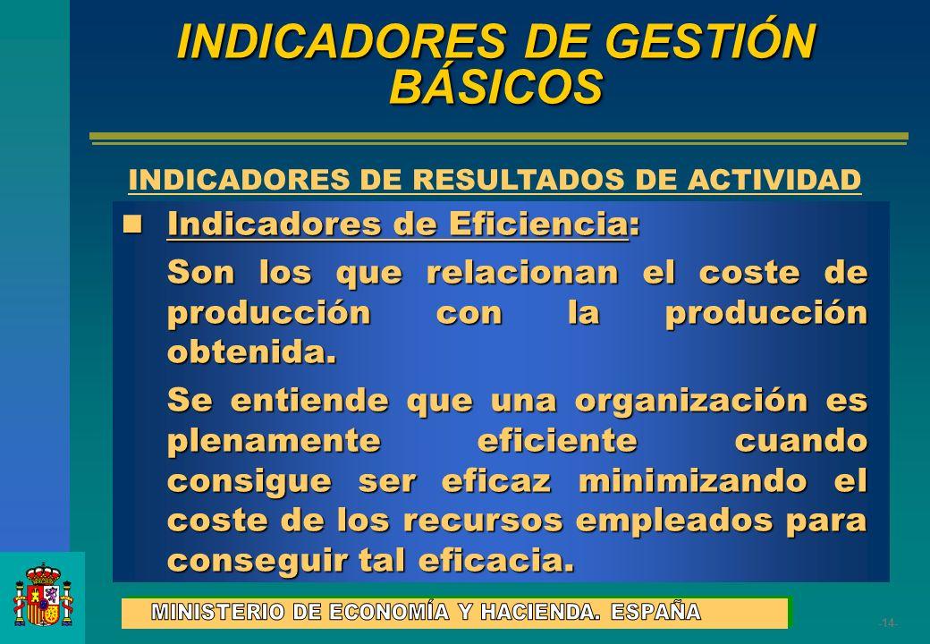 -14- Indicadores de Eficiencia: Indicadores de Eficiencia: Son los que relacionan el coste de producción con la producción obtenida. Se entiende que u