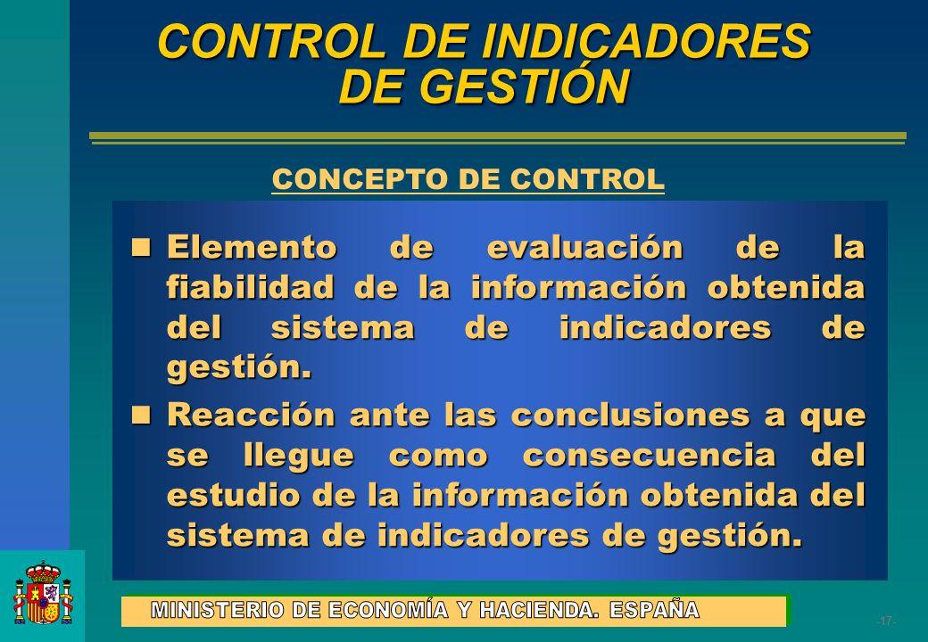 -17- Elemento de evaluación de la fiabilidad de la información obtenida del sistema de indicadores de gestión. Elemento de evaluación de la fiabilidad
