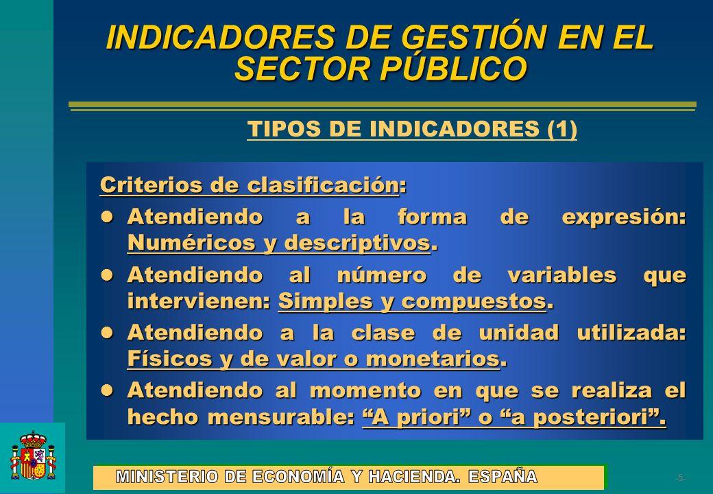 -5--5- INDICADORES DE GESTIÓN EN EL SECTOR PÚBLICO Criterios de clasificación: Atendiendo a la forma de expresión: Numéricos y descriptivos. Atendiend