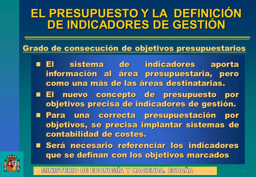 -9--9- EL PRESUPUESTO Y LA DEFINICIÓN DE INDICADORES DE GESTIÓN El sistema de indicadores aporta información al área presupuestaria, pero como una más