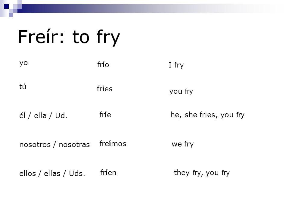 Freír: to fry yo fr í o tú fr í es él / ella / Ud. fr í e nosotros / nosotras fre í mos ellos / ellas / Uds. fr í en I fry you fry he, she fries, you