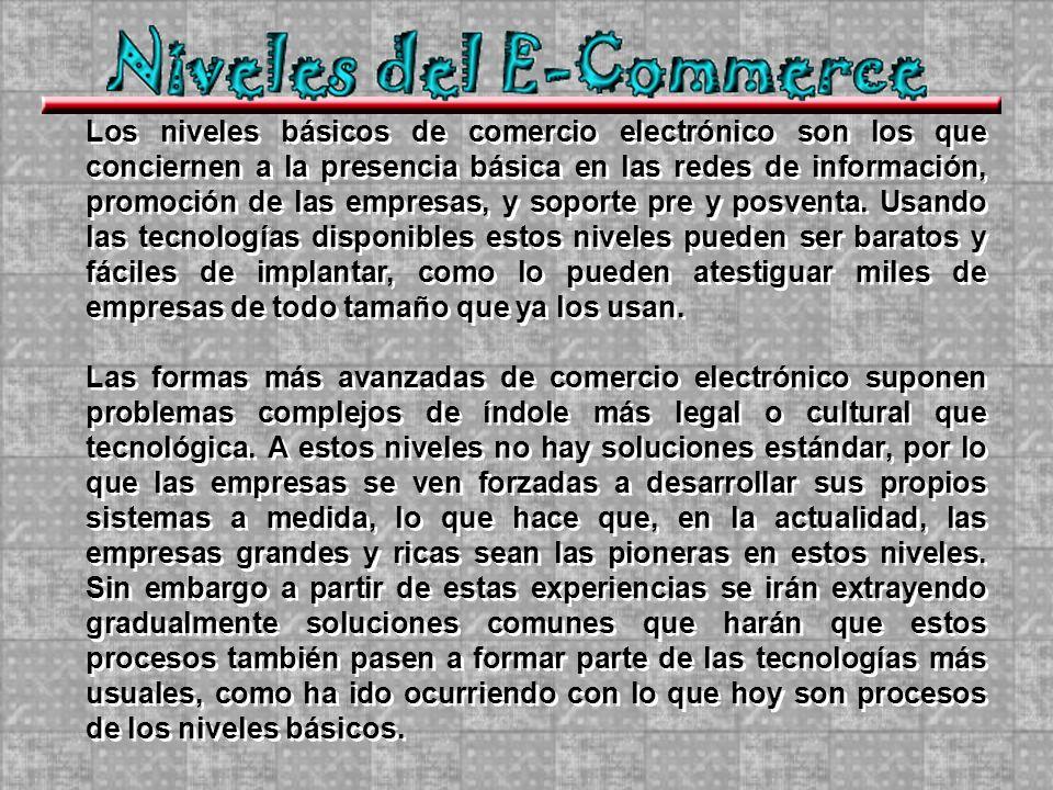 Los niveles básicos de comercio electrónico son los que conciernen a la presencia básica en las redes de información, promoción de las empresas, y soporte pre y posventa.