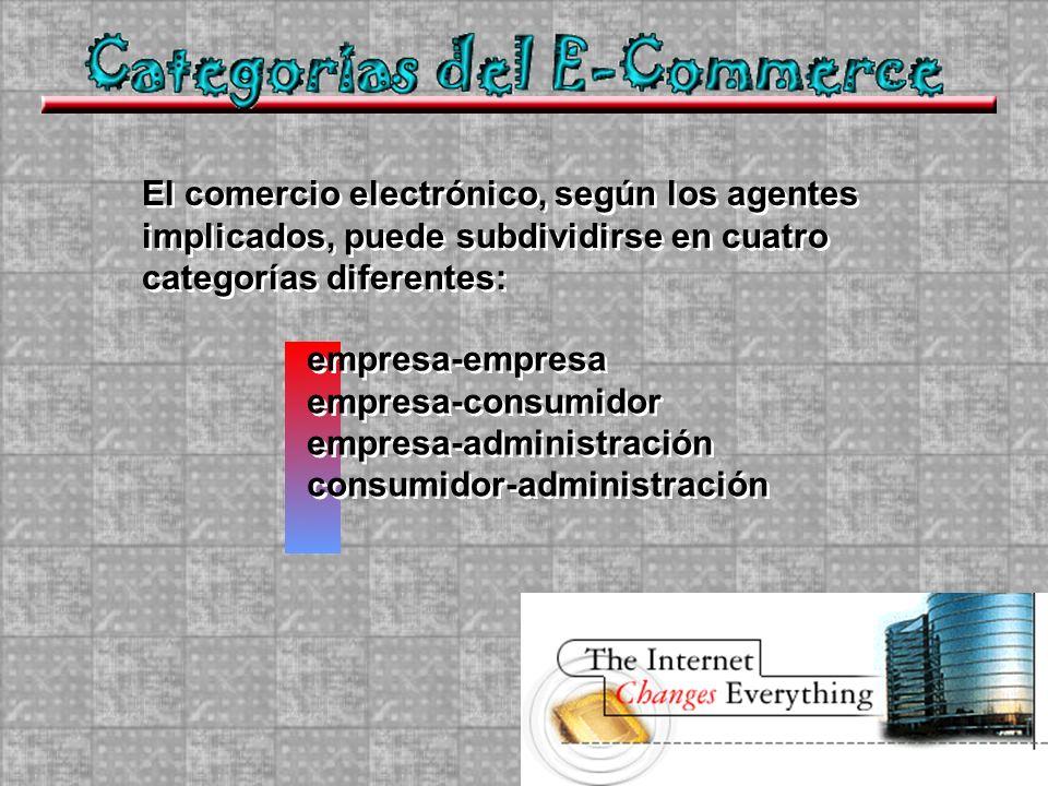 El comercio electrónico, según los agentes implicados, puede subdividirse en cuatro categorías diferentes: empresa-empresa empresa-consumidor empresa-administración consumidor-administración empresa-empresa empresa-consumidor empresa-administración consumidor-administración