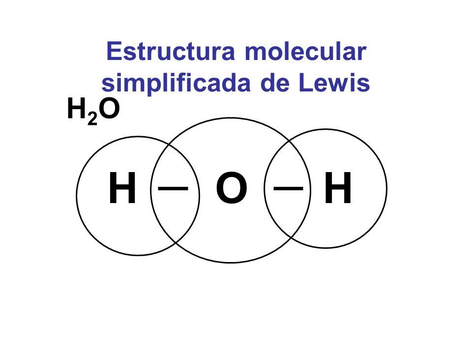Estructura molecular simplificada de Lewis H2OH2O OHH
