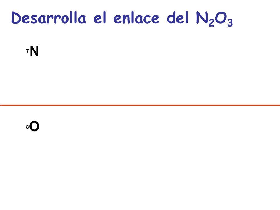 7N7N 8O8O Desarrolla el enlace del N 2 O 3