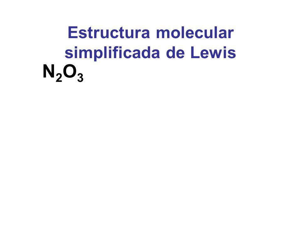Estructura molecular simplificada de Lewis N2O3N2O3