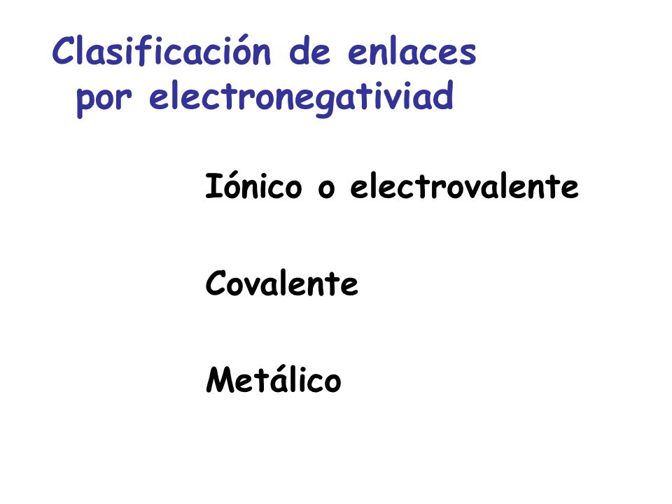 Iónico o electrovalente Covalente Metálico Clasificación de enlaces por electronegativiad