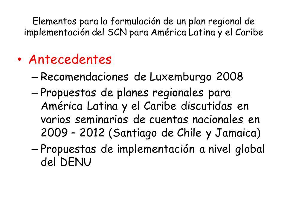 Elementos para la formulación de un plan regional de implementación del SCN para América Latina y el Caribe Antecedentes – Recomendaciones de Luxembur