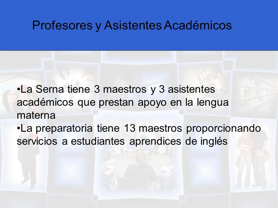Profesores y Asistentes Académicos La Serna tiene 3 maestros y 3 asistentes académicos que prestan apoyo en la lengua materna La preparatoria tiene 13