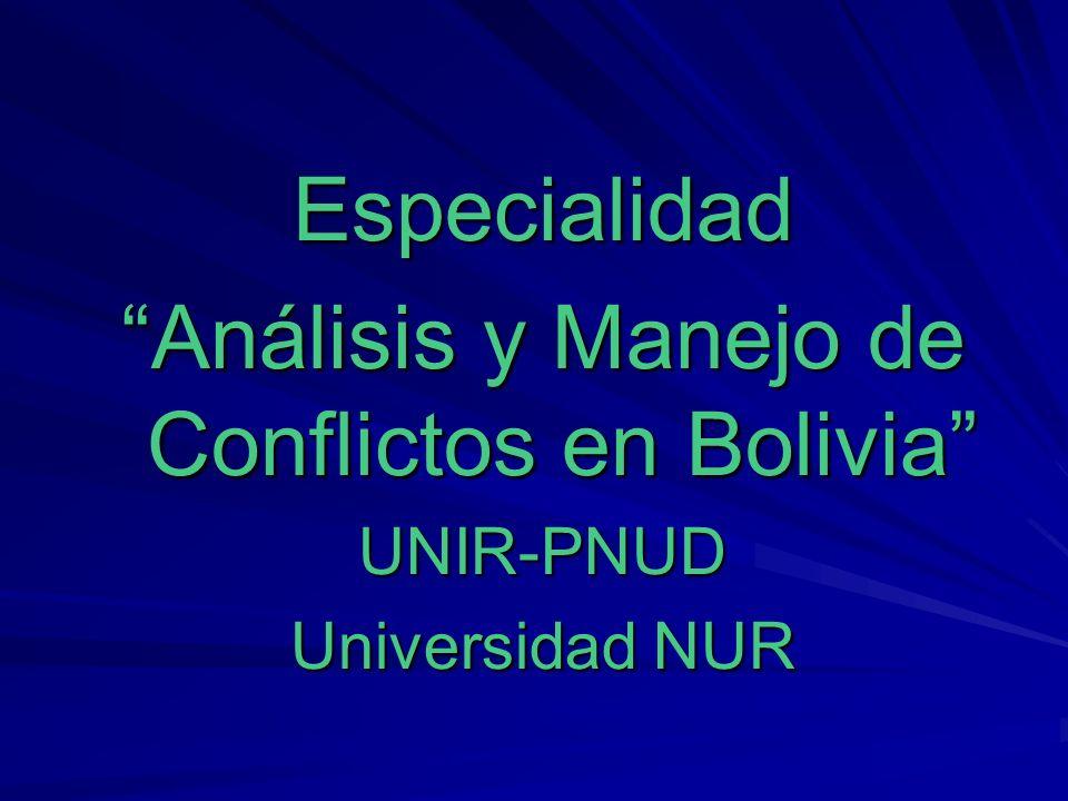 Especialidad Análisis y Manejo de Conflictos en Bolivia UNIR-PNUD Universidad NUR