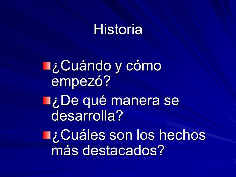 Historia ¿Cuándo y cómo empezó? ¿De qué manera se desarrolla? ¿Cuáles son los hechos más destacados?