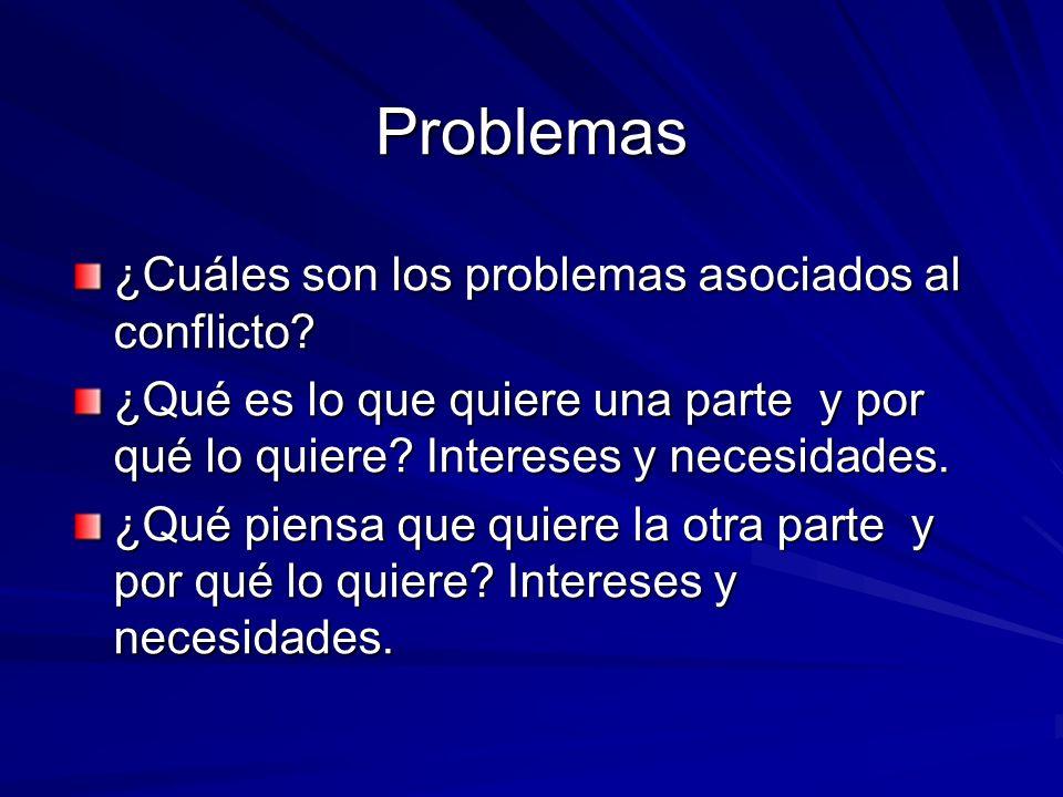 Problemas ¿Cuáles son los problemas asociados al conflicto? ¿Qué es lo que quiere una parte y por qué lo quiere? Intereses y necesidades. ¿Qué piensa
