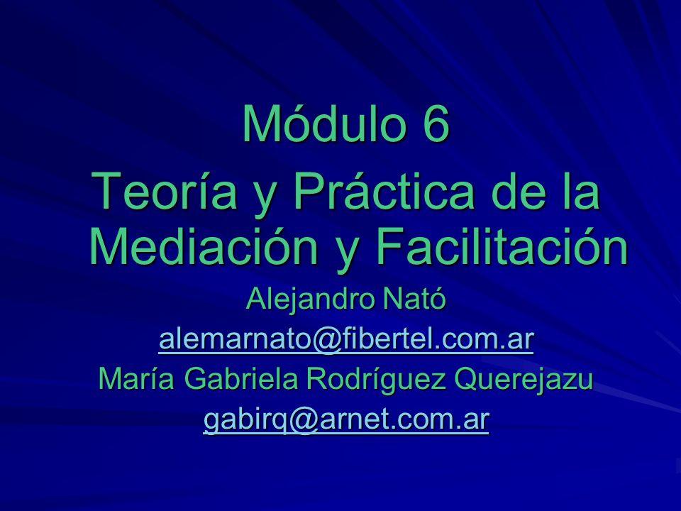 Módulo 6 Teoría y Práctica de la Mediación y Facilitación Alejandro Nató alemarnato@fibertel.com.ar María Gabriela Rodríguez Querejazu gabirq@arnet.co