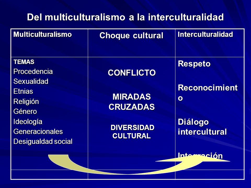 Del multiculturalismo a la interculturalidad Multiculturalismo Choque cultural Interculturalidad TEMASProcedenciaSexualidadEtniasReligiónGéneroIdeolog