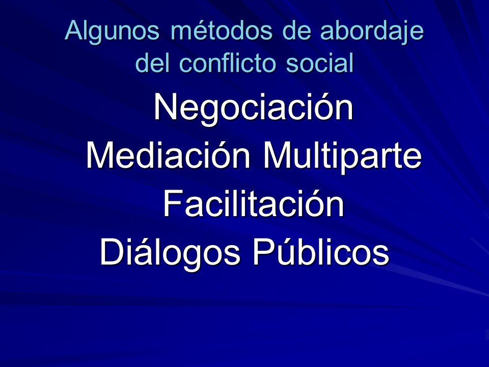 Algunos métodos de abordaje del conflicto social Negociación Negociación Mediación Multiparte Facilitación Diálogos Públicos
