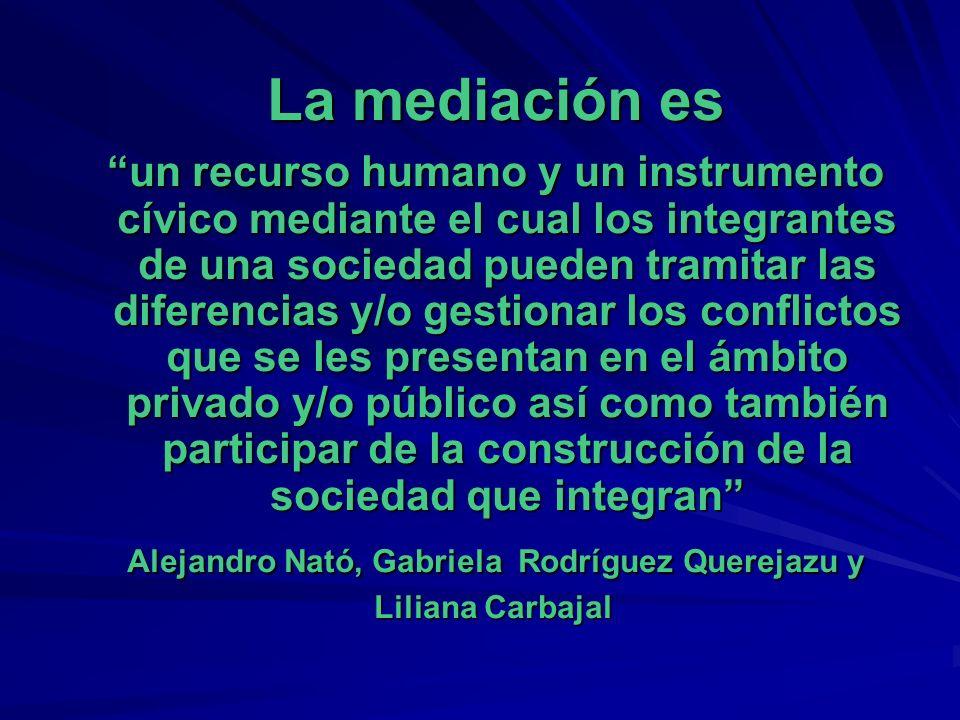 La mediación es La mediación es un recurso humano y un instrumento cívico mediante el cual los integrantes de una sociedad pueden tramitar las diferen