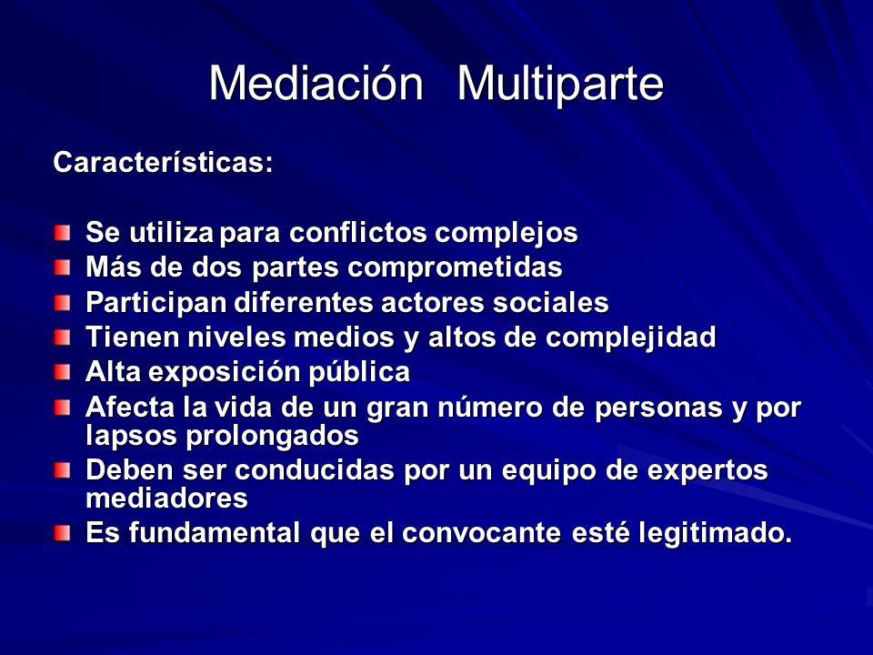 Mediación Multiparte Características: Se utiliza para conflictos complejos Más de dos partes comprometidas Participan diferentes actores sociales Tien