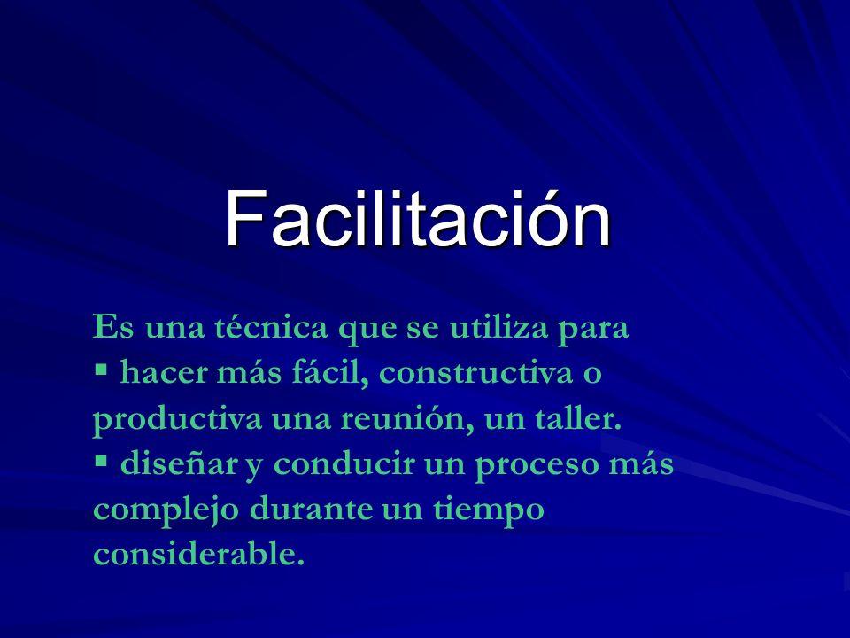 Facilitación Es una técnica que se utiliza para hacer más fácil, constructiva o productiva una reunión, un taller. diseñar y conducir un proceso más c