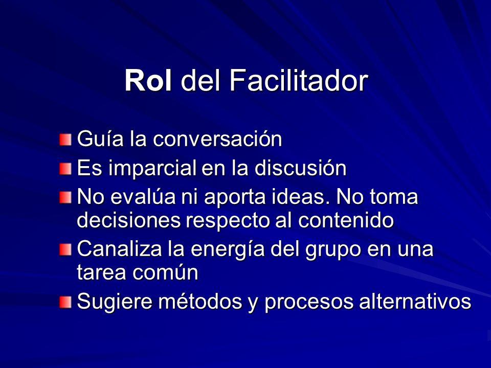 Rol del Facilitador Guía la conversación Es imparcial en la discusión No evalúa ni aporta ideas. No toma decisiones respecto al contenido Canaliza la