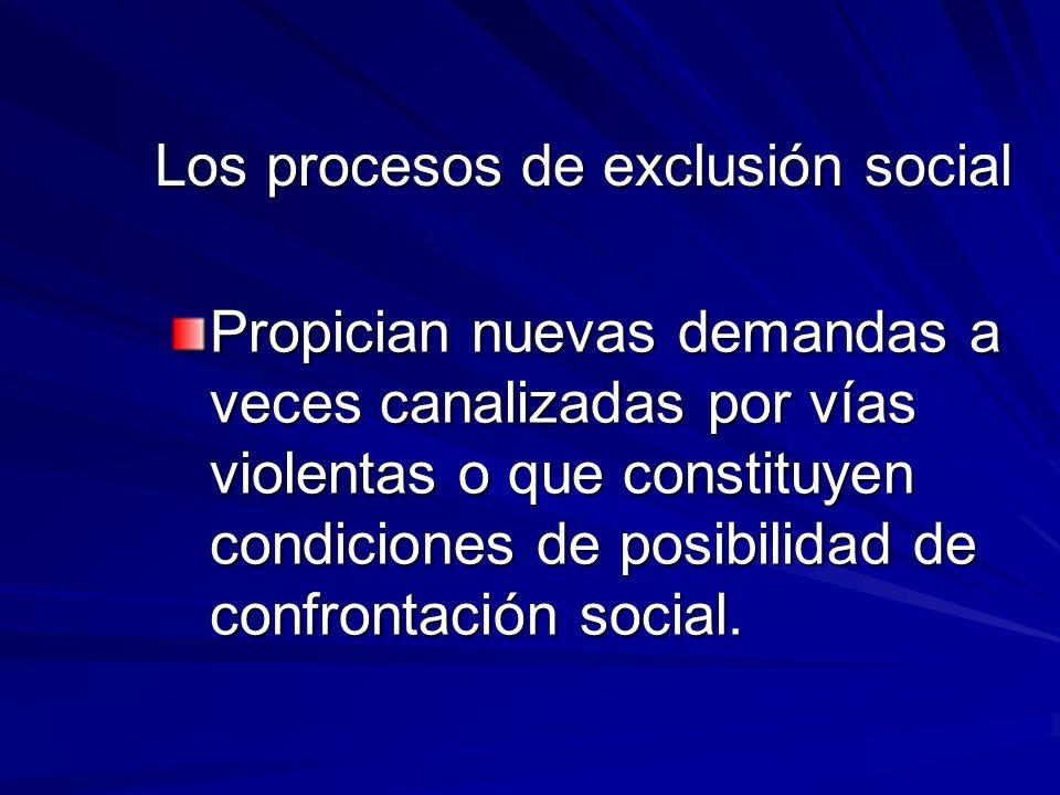 Los procesos de exclusión social Propician nuevas demandas a veces canalizadas por vías violentas o que constituyen condiciones de posibilidad de conf