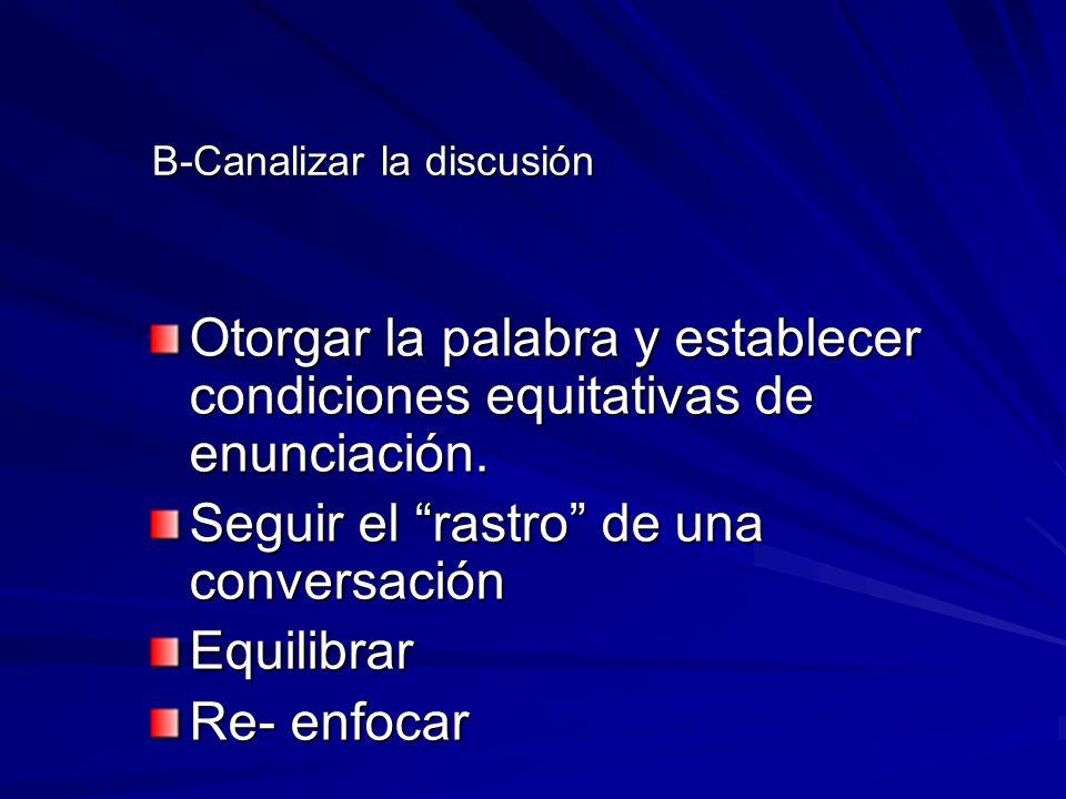 B-Canalizar la discusión B-Canalizar la discusión Otorgar la palabra y establecer condiciones equitativas de enunciación. Seguir el rastro de una conv