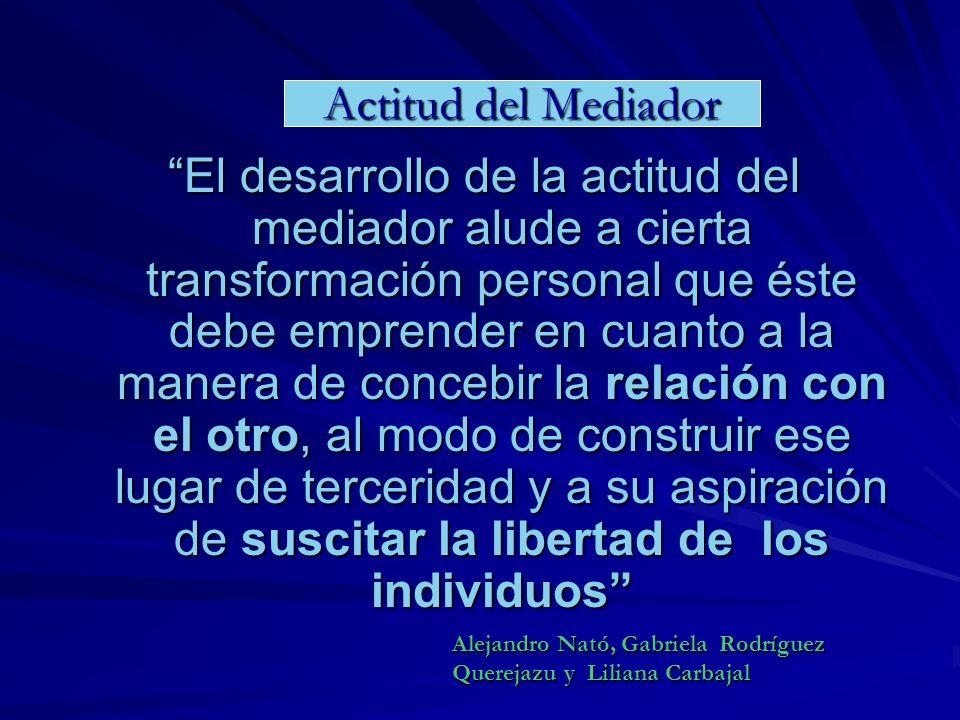 El desarrollo de la actitud del mediador alude a cierta transformación personal que éste debe emprender en cuanto a la manera de concebir la relación