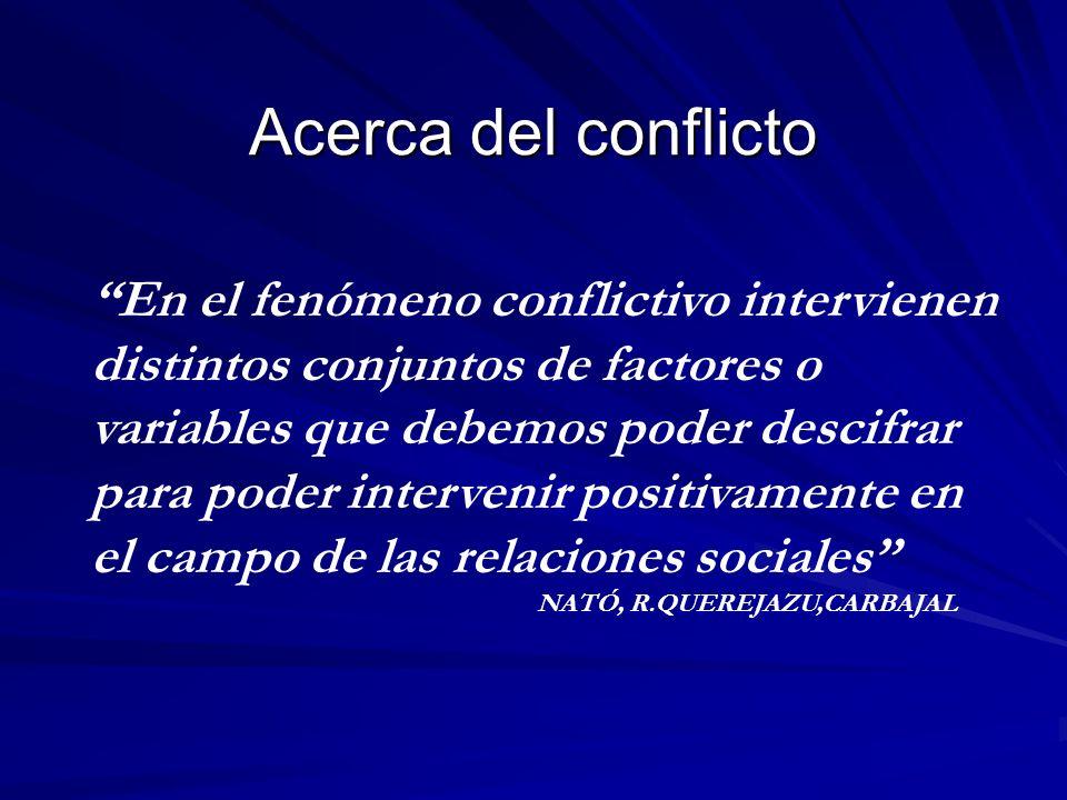 Acerca del conflicto En el fenómeno conflictivo intervienen distintos conjuntos de factores o variables que debemos poder descifrar para poder interve