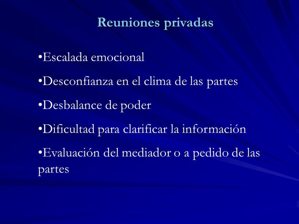 Reuniones privadas Reuniones privadas Escalada emocional Desconfianza en el clima de las partes Desbalance de poder Dificultad para clarificar la info