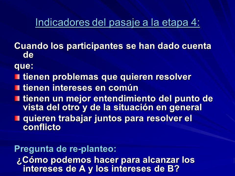 Indicadores del pasaje a la etapa 4: Cuando los participantes se han dado cuenta de que: tienen problemas que quieren resolver tienen intereses en com