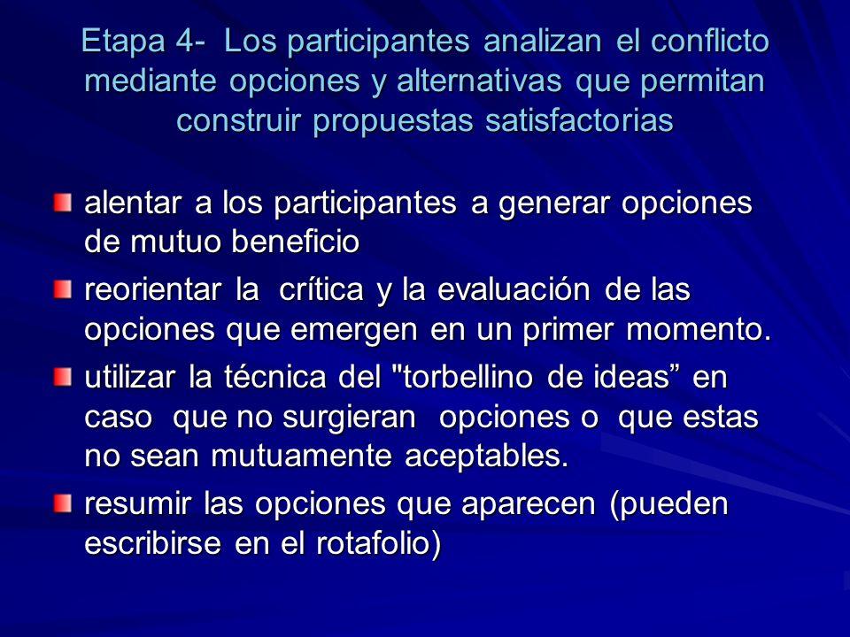Etapa 4- Los participantes analizan el conflicto mediante opciones y alternativas que permitan construir propuestas satisfactorias alentar a los parti