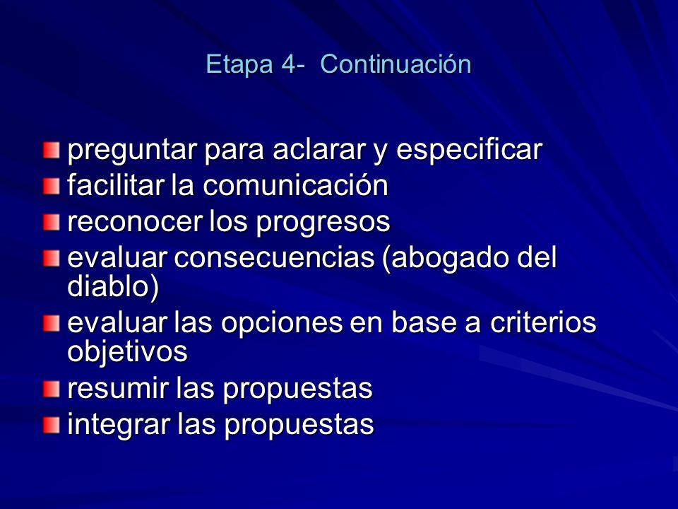 Etapa 4- Continuación preguntar para aclarar y especificar facilitar la comunicación reconocer los progresos evaluar consecuencias (abogado del diablo