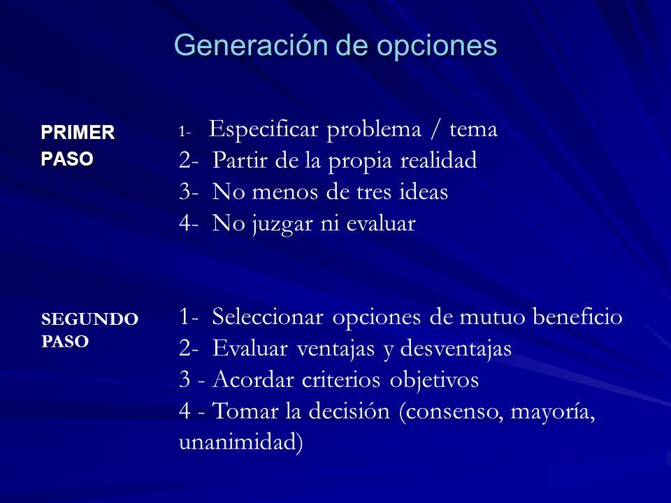 Generación de opciones PRIMERPASO 1- Especificar problema / tema 2- Partir de la propia realidad 3- No menos de tres ideas 4- No juzgar ni evaluar 1-