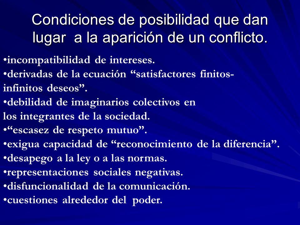 Condiciones de posibilidad que dan lugar a la aparición de un conflicto. incompatibilidad de intereses. derivadas de la ecuación satisfactores finitos