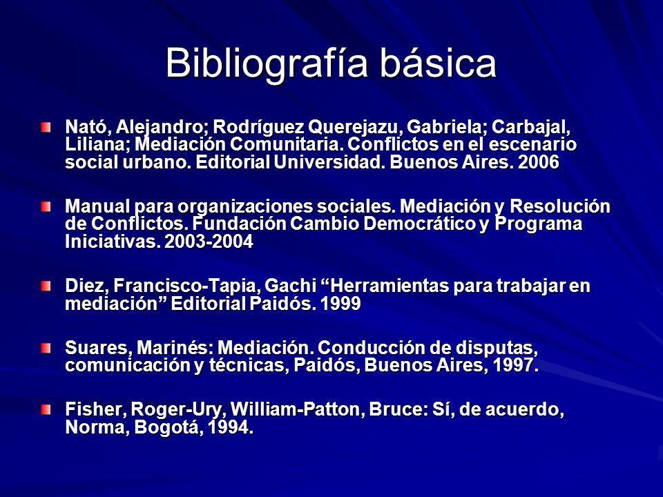 Bibliografía básica Nató, Alejandro; Rodríguez Querejazu, Gabriela; Carbajal, Liliana; Mediación Comunitaria. Conflictos en el escenario social urbano
