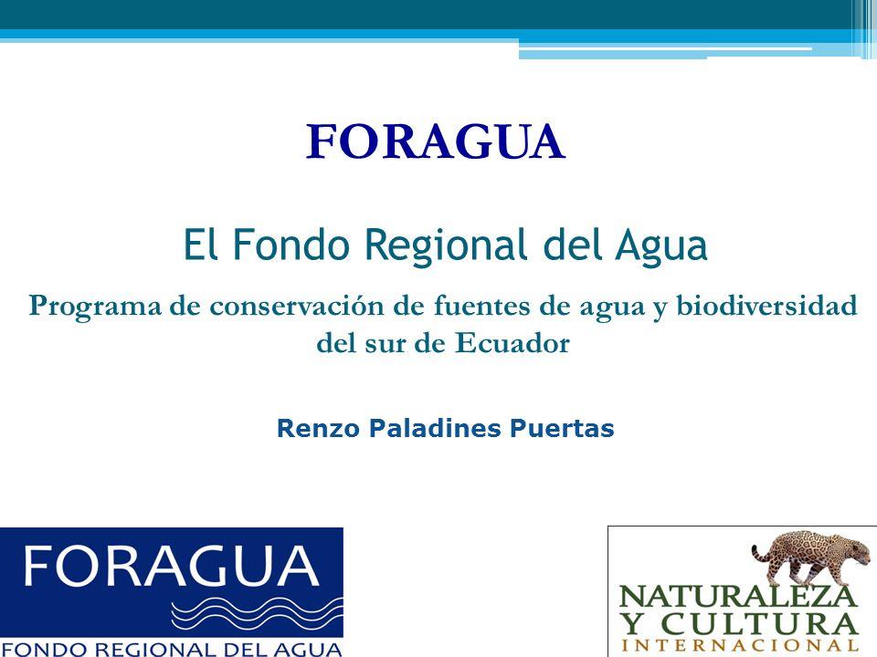 FORAGUA El Fondo Regional del Agua Programa de conservación de fuentes de agua y biodiversidad del sur de Ecuador Renzo Paladines Puertas