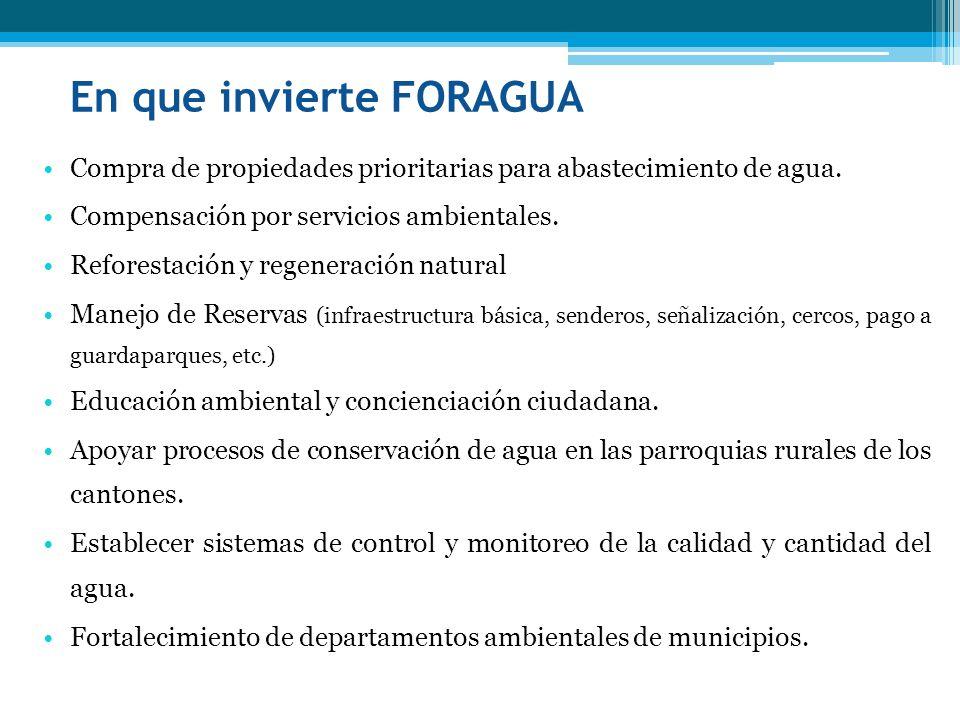 En que invierte FORAGUA Compra de propiedades prioritarias para abastecimiento de agua. Compensación por servicios ambientales. Reforestación y regene