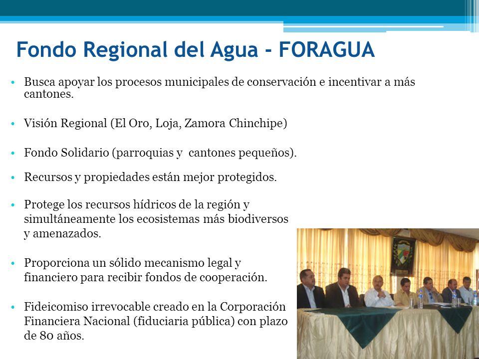 Fondo Regional del Agua - FORAGUA Protege los recursos hídricos de la región y simultáneamente los ecosistemas más biodiversos y amenazados. Proporcio