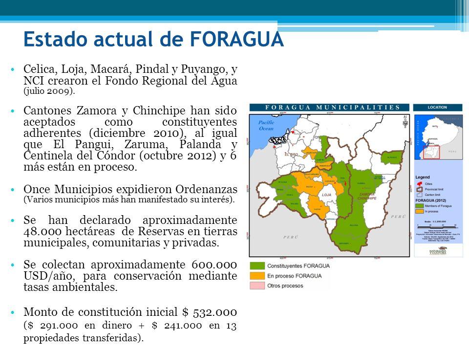 Estado actual de FORAGUA Celica, Loja, Macará, Pindal y Puyango, y NCI crearon el Fondo Regional del Agua (julio 2009). Cantones Zamora y Chinchipe ha