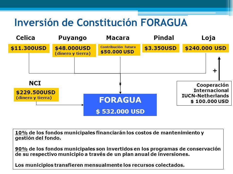 Inversión de Constitución FORAGUA Celica $11.300USD Puyango $48.000USD (dinero y tierra) Pindal $3.350USD Loja $240.000 USD FORAGUA $ 532.000 USD NCI