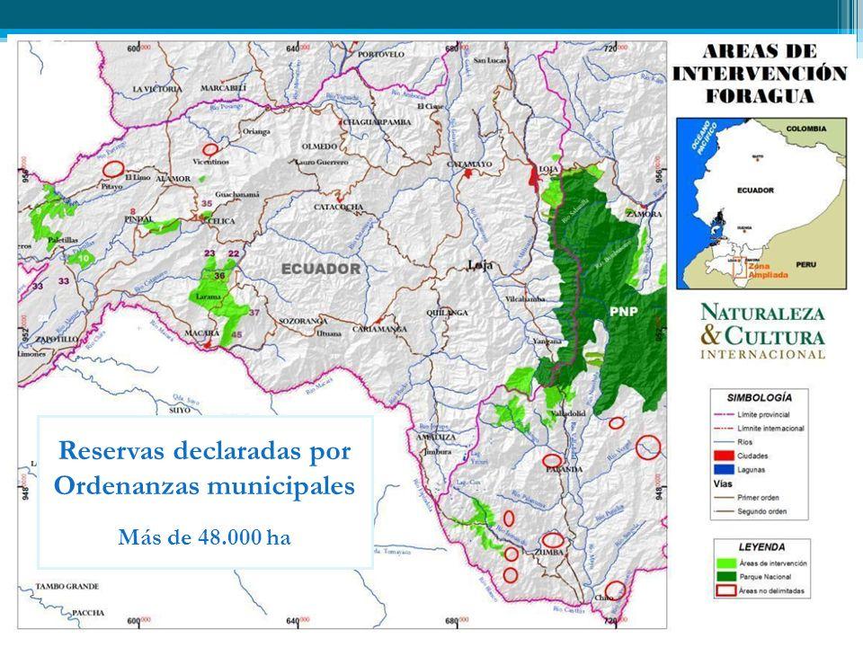Reservas declaradas por Ordenanzas municipales Más de 48.000 ha