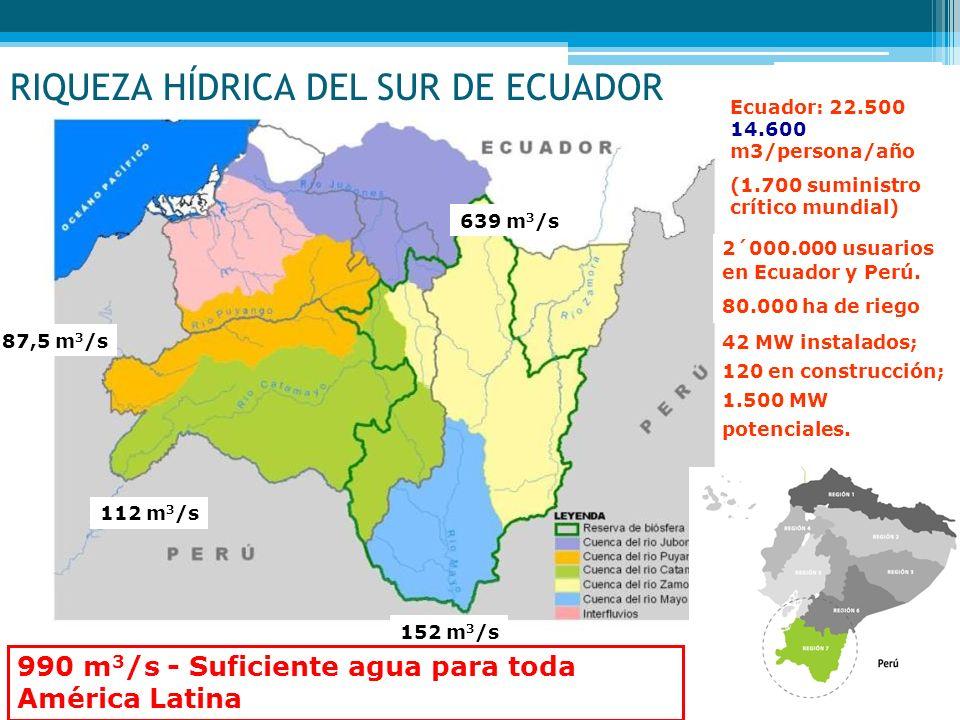 2´000.000 usuarios en Ecuador y Perú. 80.000 ha de riego 87,5 m 3 /s 112 m 3 /s 639 m 3 /s 152 m 3 /s 990 m 3 /s - Suficiente agua para toda América L