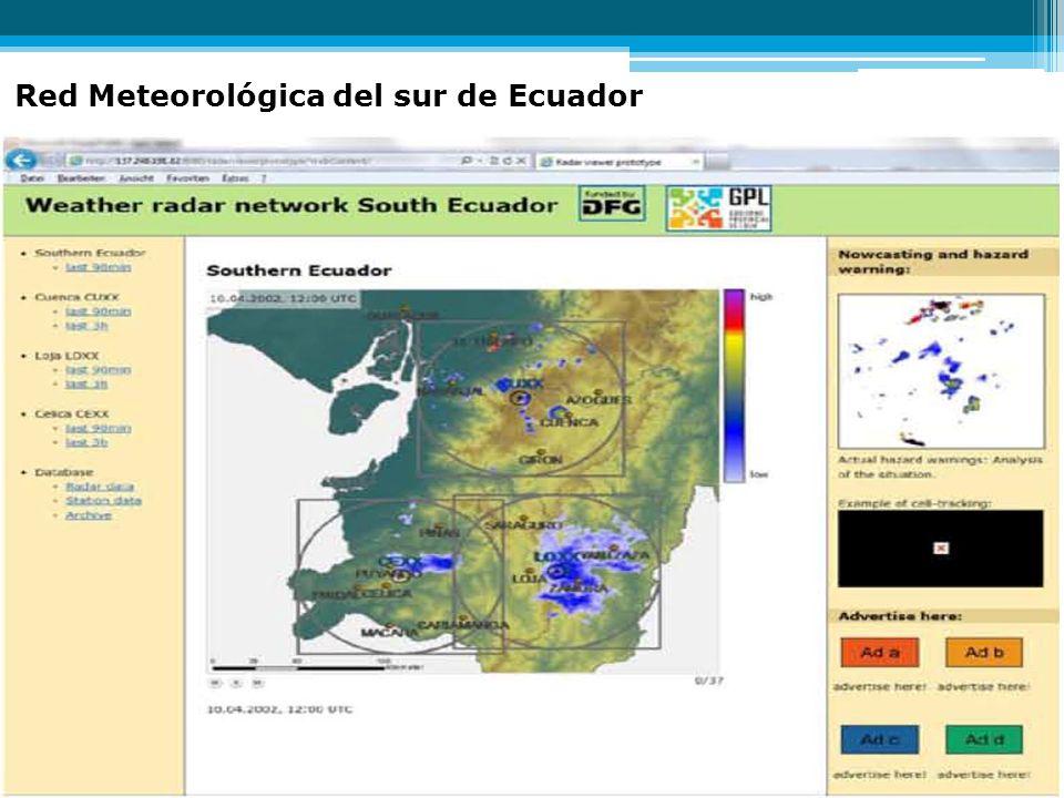 Dos slids de transfer radares y bosques Red Meteorológica del sur de Ecuador