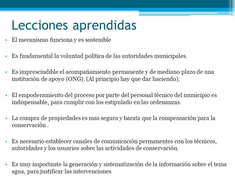 Lecciones aprendidas El mecanismo funciona y es sostenible Es fundamental la voluntad política de las autoridades municipales. Es imprescindible el ac